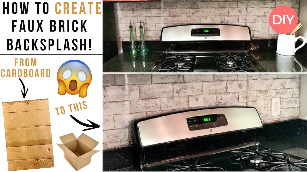 - Faux Brick Backsplash DIY Rental Kitchen Upgrade DIY How To