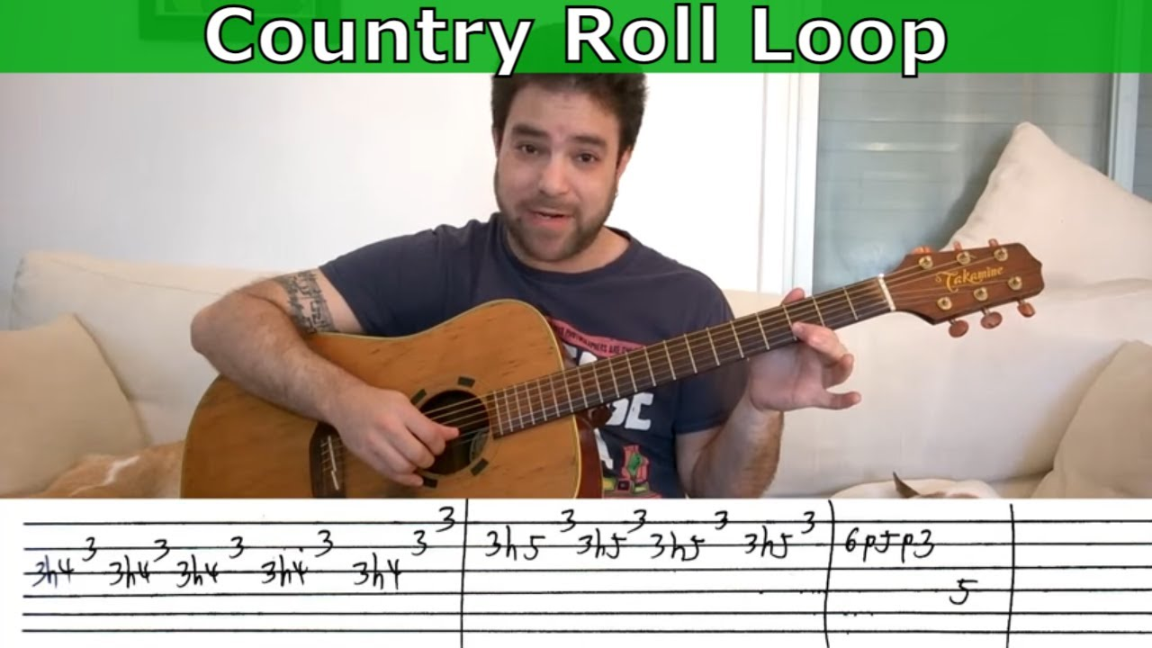 Guitar Trick 3 Country Roll Loop Lesson W Tab