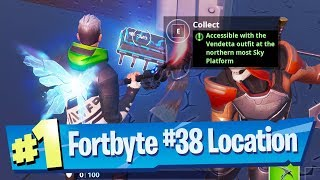 Fortnite Fortbyte #38 Location - Accessible with the Vendetta outfit at Northern most Sky Platform
