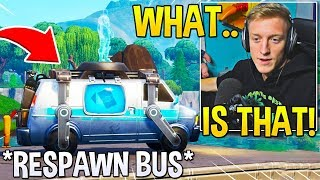 """TFUE FINDS  *EXTREMELY RARE* """"RESPAWN BUS"""" EARLY! (NOT RELEASED YET) - Fortnite Moments"""