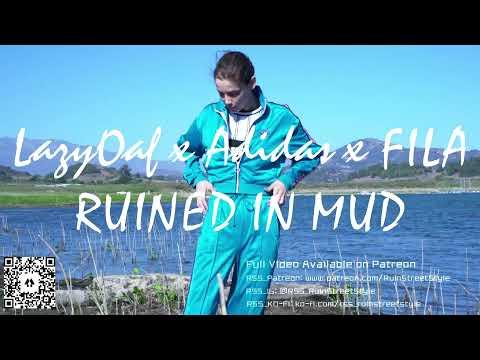 Tracksuit girl in her FILA sneakers playing in mud | Muddy Girl | WAM