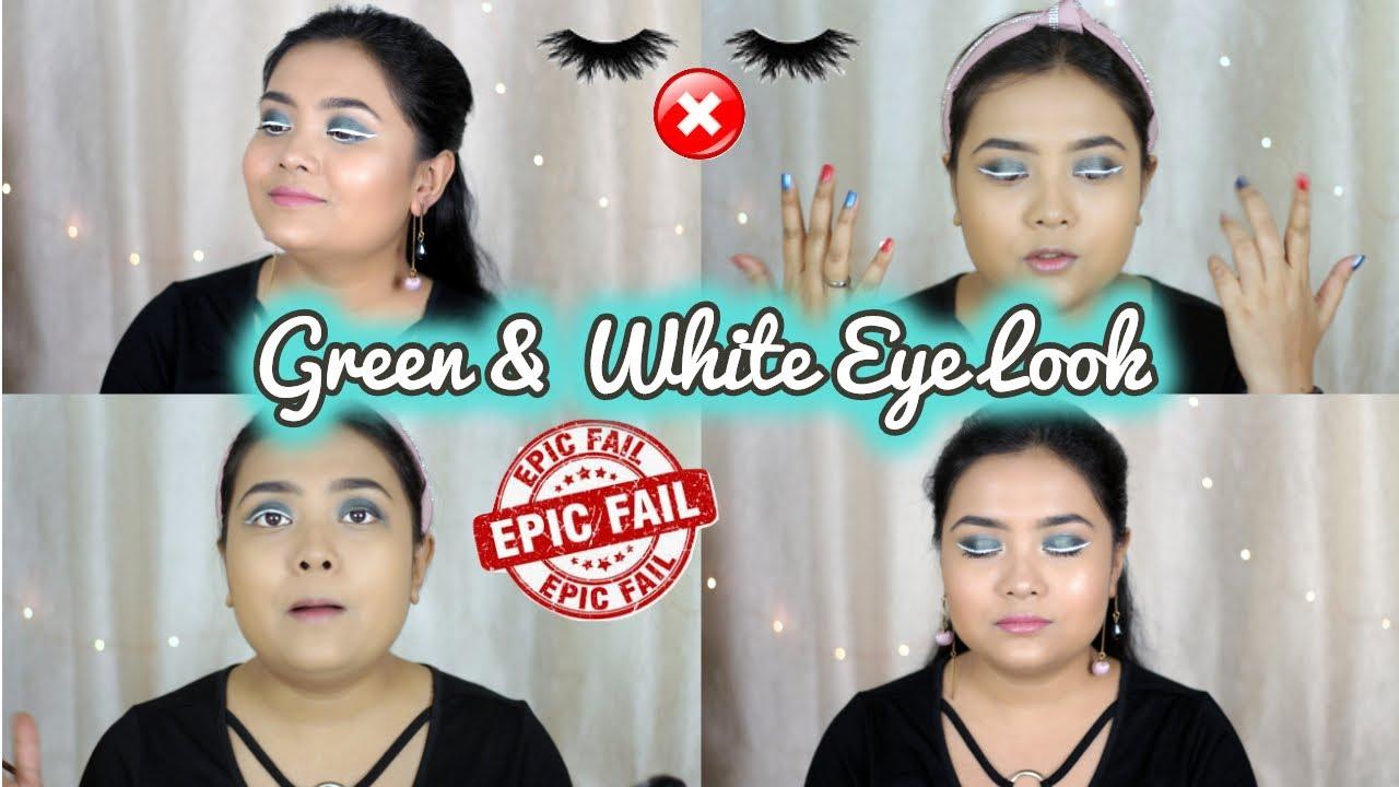 Trying White Eyeliner | Green & White Eyelook | Failing badly??? | Soumi Bose