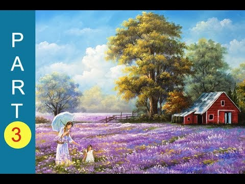 Mother and daughter on a field of flowers acrylic painting – PART 3