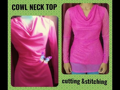 COWL NECK DRESS PATTERN CUTTING & SEWING IN HINDI - YouTube