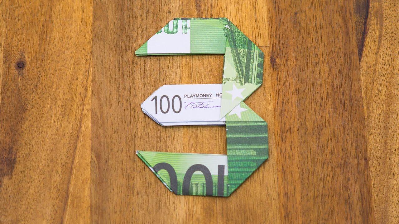 geldschein falten zahl 3 origami geldgeschenk tutorial nummer 3 10 youtube. Black Bedroom Furniture Sets. Home Design Ideas