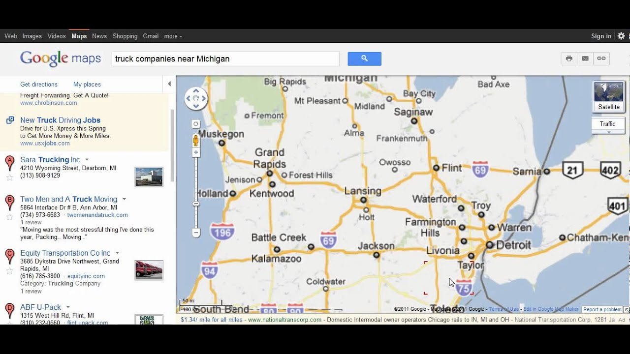 How Use Google Maps To Find Truck Jobs