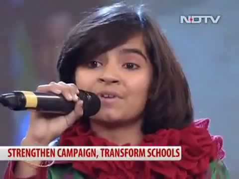 Sanjana bhola sings to impress...  [  ndtv suport my school ] cont 9257332505
