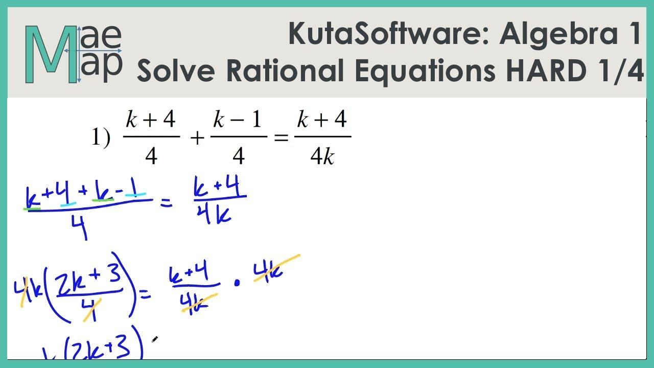 Kutasoftware Algebra 1 Solving Rational Equations Hard Part 1