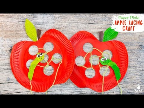 Paper Plate Apple Lacing Craft Landscape Youtube
