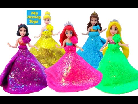 7f84e340f أميرات ديزني ألعاب بنات فساتين من الصلصال العاب تلبيس بناتDisney Princess  Play Doh Sparkle Dresses