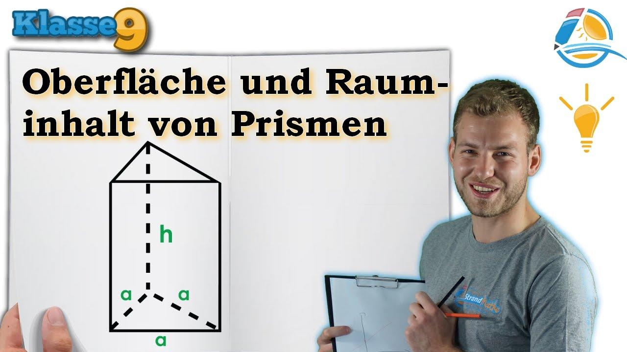 Oberfläche Rauminhalt Volumen von Prismen || Klasse 9 ☆ Wissen ...
