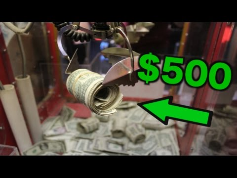 WINNING $500 FROM THE CLAW MACHINE! BROKE THE GLASS!