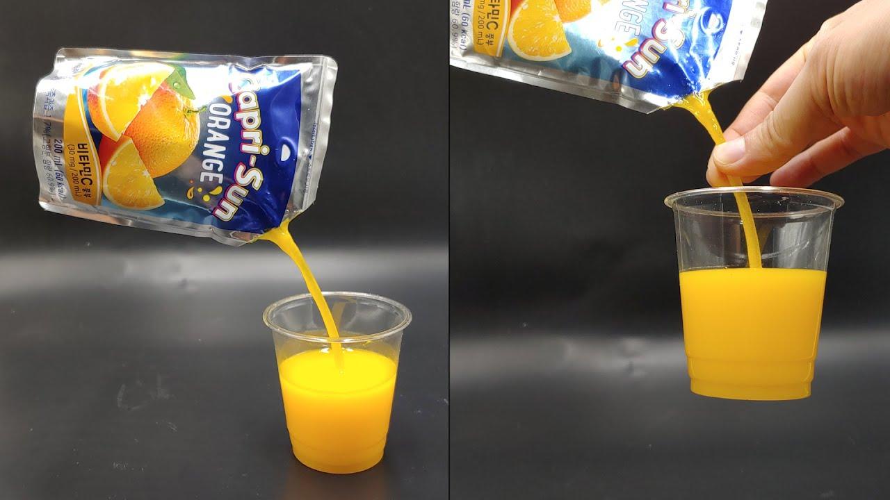 주스를 컵에 따르는 모형 만들기