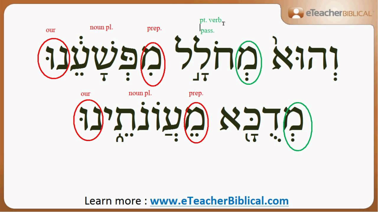 How to read and understand the Hebrew in Isaiah 53 5? | Q ...