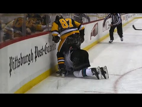 Crosby frustrated after blatant slew foot by Karlsson