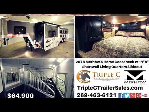 "2018 Merhow 4 Horse Gooseneck with 11"" 8' Shortwall Living Quarters Slideout"