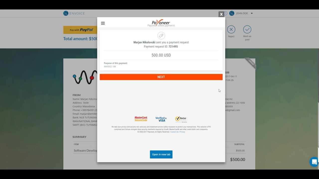 How To Pay The Invoice With PayPal Stripe And Payoneer ENVOICE - Pay the invoice