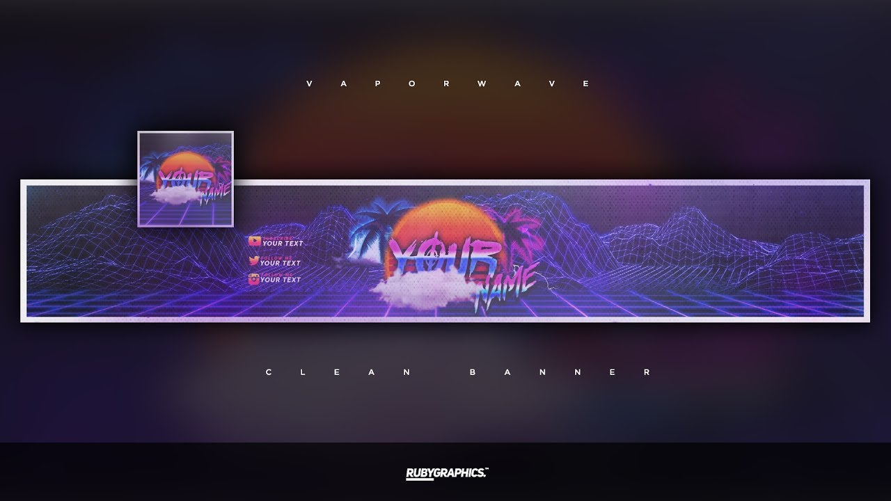 free gfx free photoshop revamp banner template clean 80s retro style design 2019