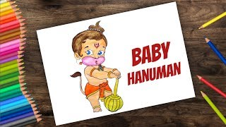 How to draw Baby Hanuman | Bal hanuman cartoon | drawing and colouring