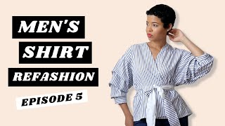 Men's Shirt Refashion | Ruched Sleeves Wrap Top