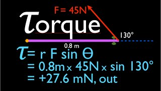 Physics, Torque Calculation, Force Not at Right Angle to Object