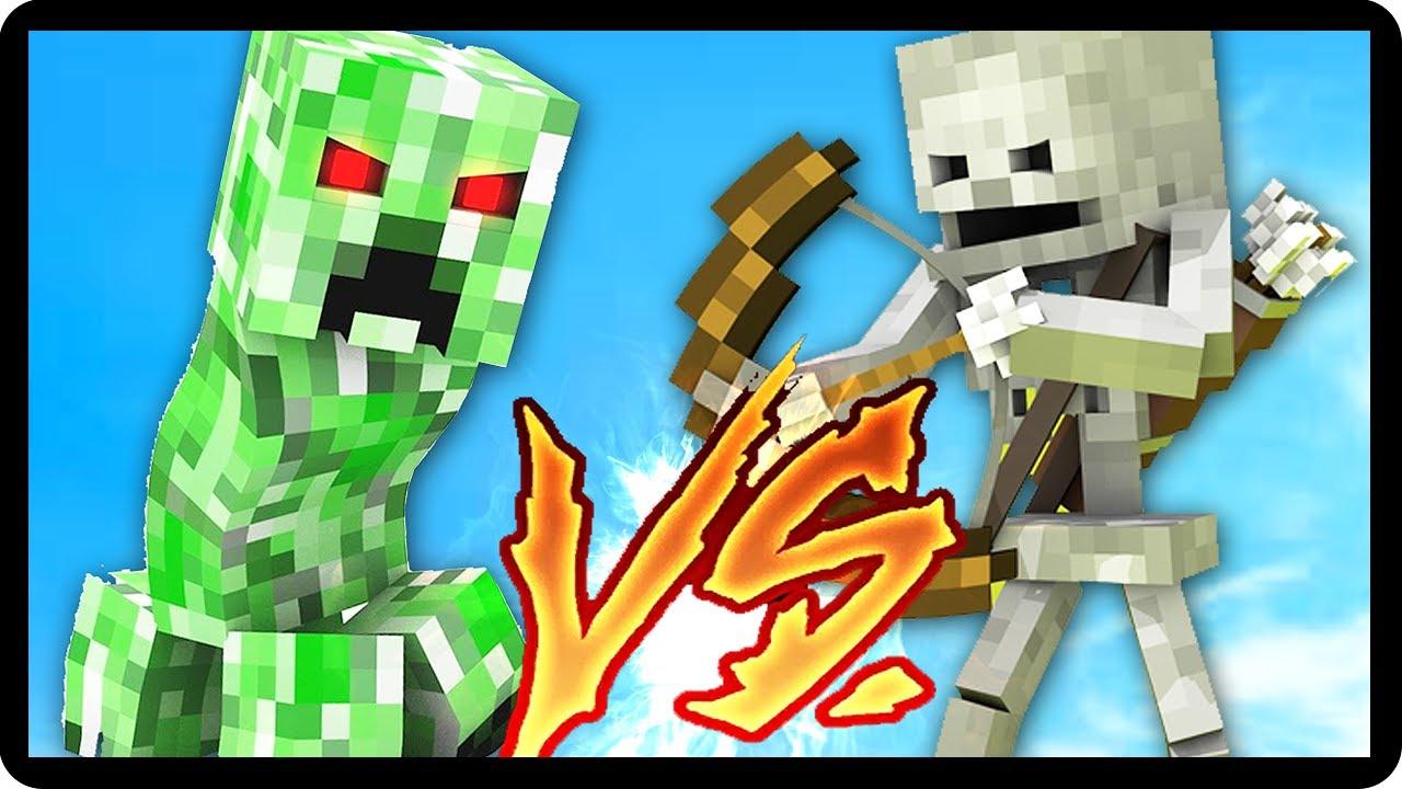 creeper vs esqueleto quem vence batalha de mobs minecraft