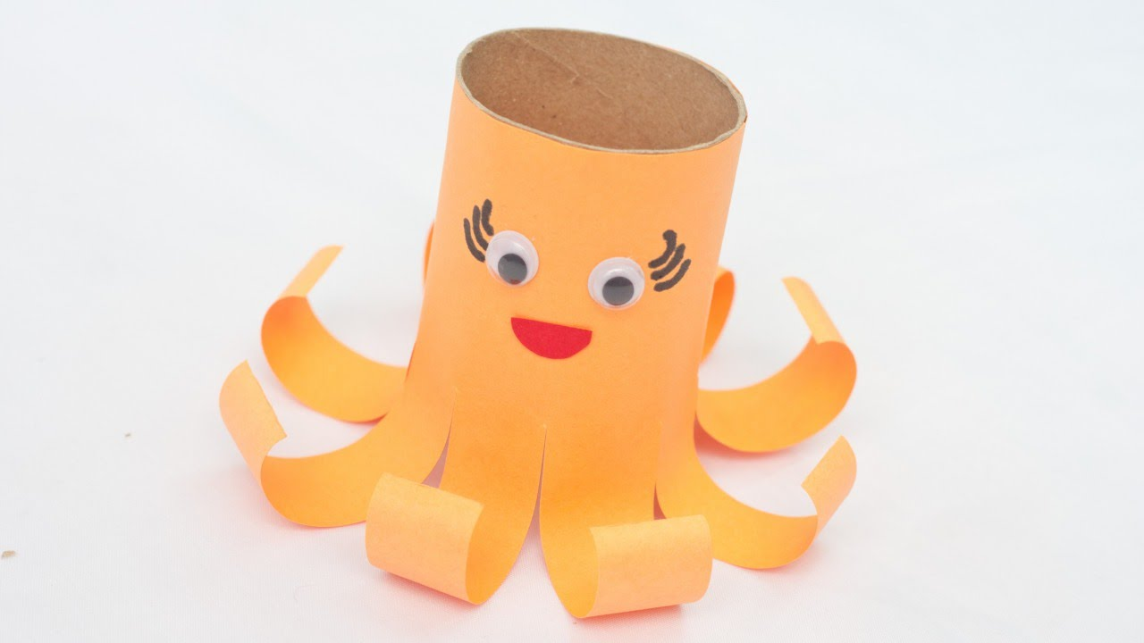 how to create a cute toilet paper roll octopus - diy crafts tutorial