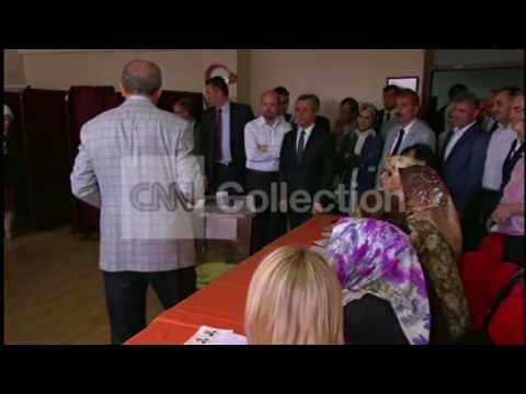 TURKEY-ELECTIONS- PM RECEP ERDOGAN VOTING