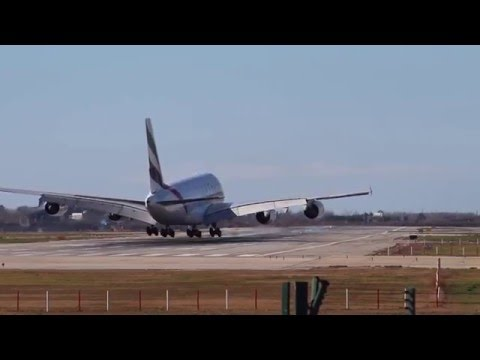 Emirates airbus a380 landing at Barcelona airport