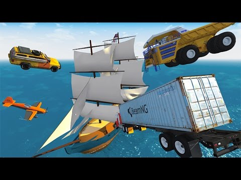 Best Of Destroying Pirate Ships With Cars - 2,000 Subscribers Special BeamNG.drive