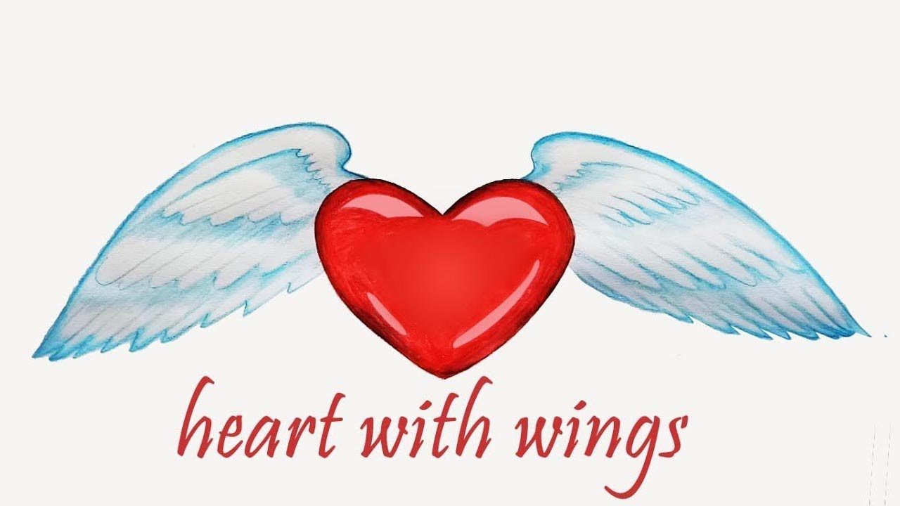 How To Draw Heart With Wings Step By Step