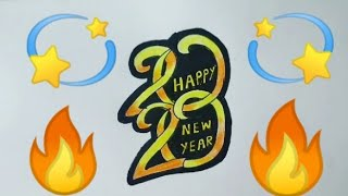 HAPPY NEW YEAR 2020 3D Colouring Drawing for kids Easy New Year Drawing Step By Step Easy & simple