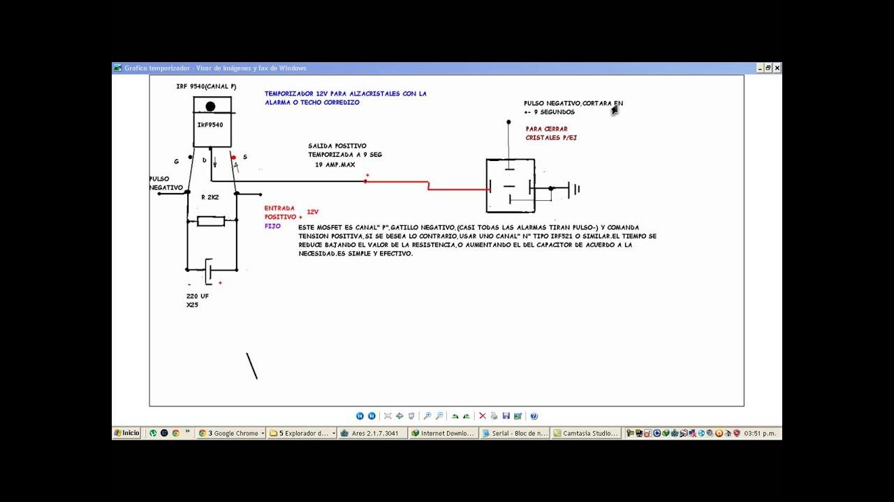 Circuito Levanta Vidrios Electricos : Temporizador mosfet para alzacristales youtube