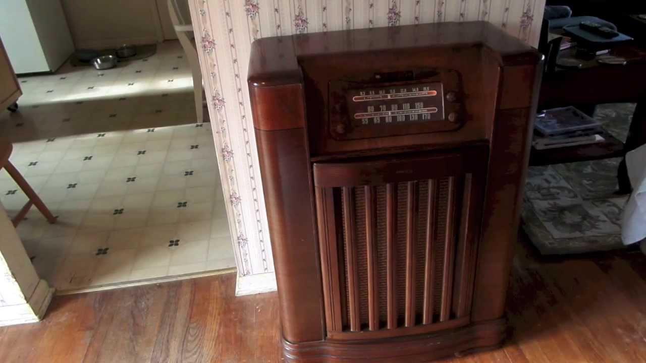 Restored Philco Console Radio Record Player - YouTube