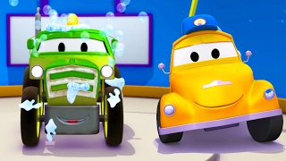tom the tow truck s car wash and ben the tractor   truck cartoons for kids