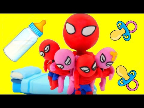 SPIDERMAN BABYSITTING ❤ Hulk & Frozen Elsa Play Doh Cartoons For Kids ❤ Play Doh Stop Motion
