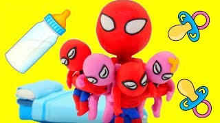 SPIDERMAN BABYSITTING ❤ Hulk & Frozen Elsa Play Doh Cartoons For Kids ❤ Play Doh Stop Motion thumbnail