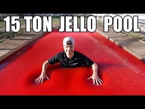 Worlds LARGEST JELLO POOL- Can you swim in Jello?