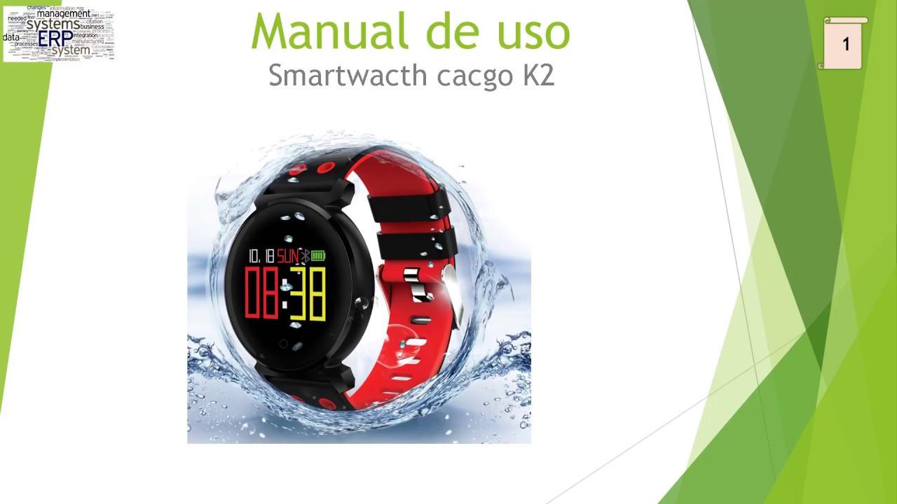 De Uso Síntesis Reloj Inteligente K2 Manual Cacgo rWxBoedC