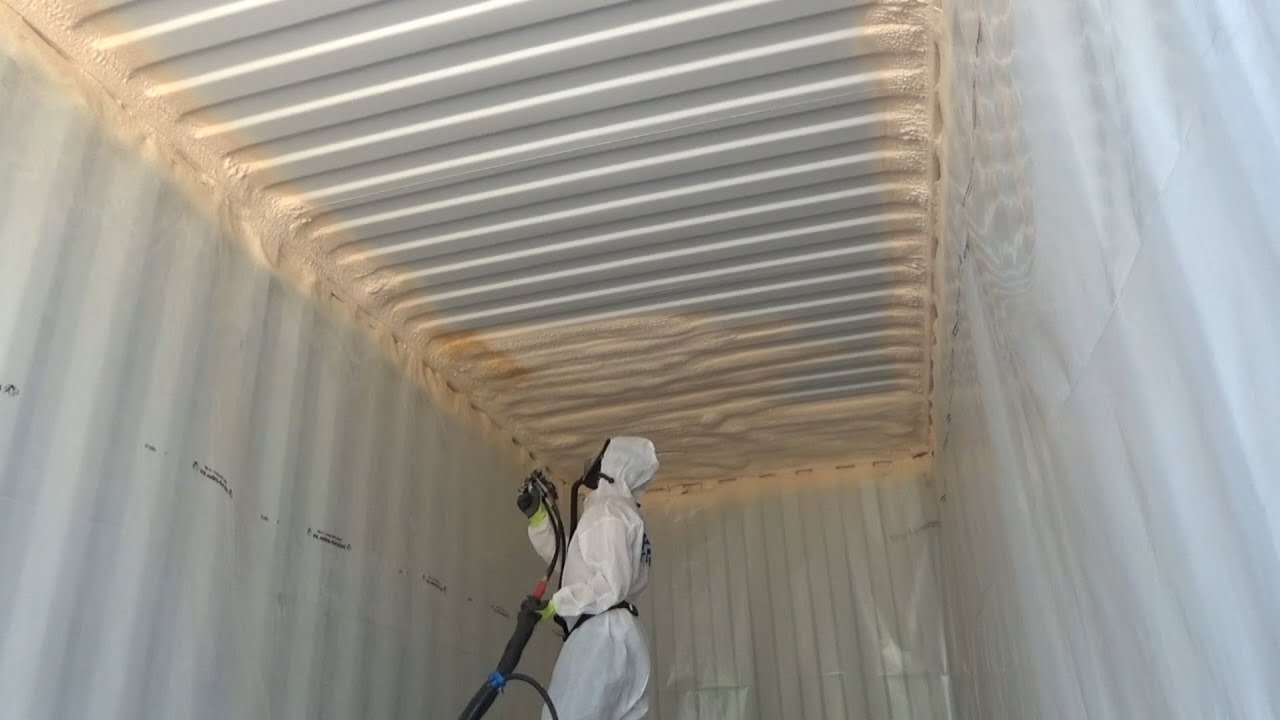 Spray Foaming The Container Ceiling With Closed Cell Foam