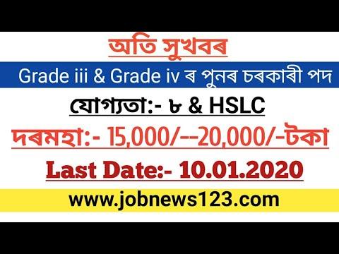 Latest Government Job 2020:Grade Iii & Grade Iv Vacancies Out,last Date:-10.01.2020-job News