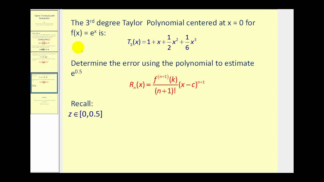 Taylor's Theorem with Remainder - YouTube