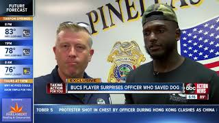Bucs' Chris Godwin surprises Pinellas Park PD officer after rescuing dog hit by car on I-275