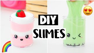 4 AMAZING DIY FOOD SLIMES - Four EASY FAMOUS Slime Recipes!