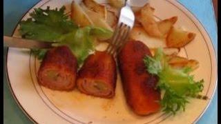 Рулетики из свинины (с грудинкой, киви и орешками)