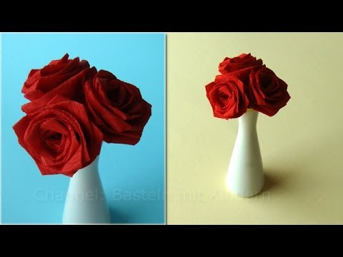 origami rose blumen basteln mit krepp papier diy. Black Bedroom Furniture Sets. Home Design Ideas