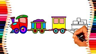 Train drawing and coloring for kids | Coloring pages for children | PP Kids