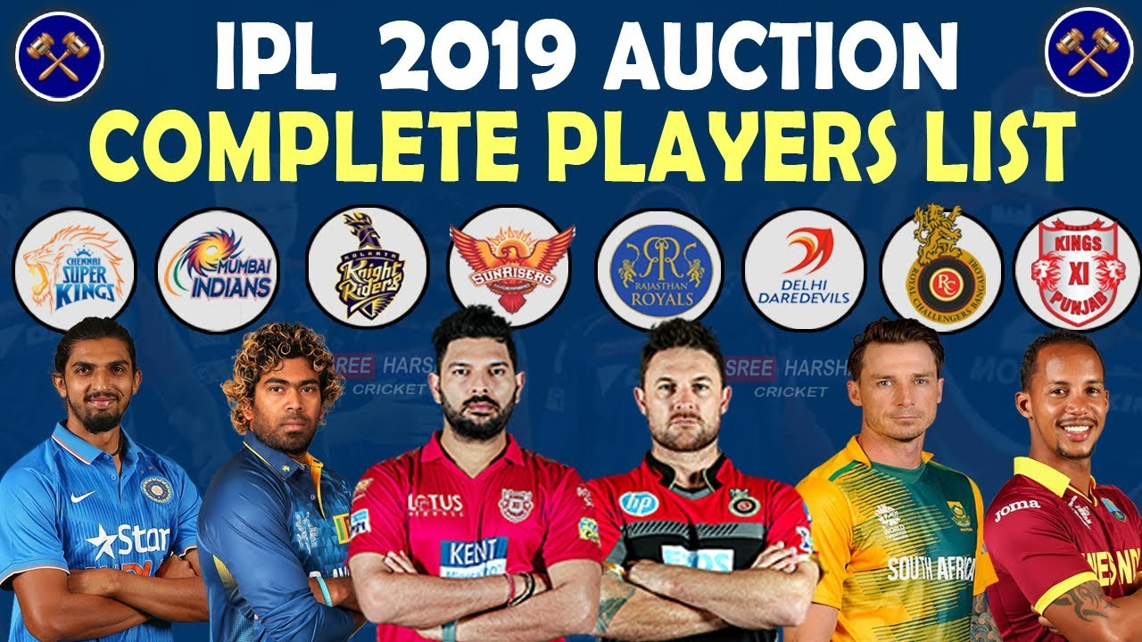 IPL 2019 Auction | Complete Player List Updated | Date, Time, Live