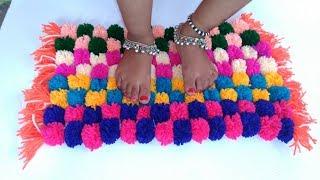 How to make Pom Pom Doormat, Table mat, Carpet, Rug Home Decor thumbnail