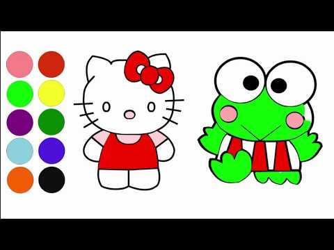 Cara Menggambar Dan Mewarnai Hello Kitty Dan Keroppi Az Drawing